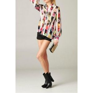 NWT Tov Holy Floral Stripe Sheer Blouse